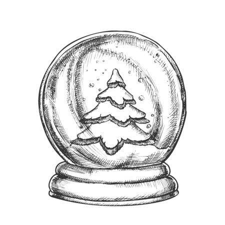 Snow Globe With Fir-tree Souvenir Vintage Vector. Snowy Winter And Pine Tree In Glass Snow Ball On Stand. Christmas Present Sphere Template Hand Drawn In Retro Style Monochrome Illustration