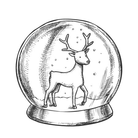 Snow Globe With Deer Souvenir Hand Drawn Vector. Snowy Winter And Wild Forest Animal In Glass Snow Ball On Pedestal. Xmas Present Sphere Template Designed In Vintage Style Monochrome Illustration 向量圖像