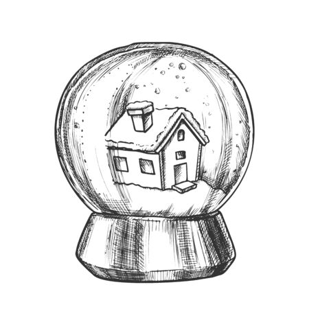 Snow Globe With House Souvenir Vintage Vector. Snowy Winter And Ancient Building In Glass Snow Ball On Pedestal. Seasonal Holiday Gift Sphere Template Designed In Retro Style Monochrome Illustration