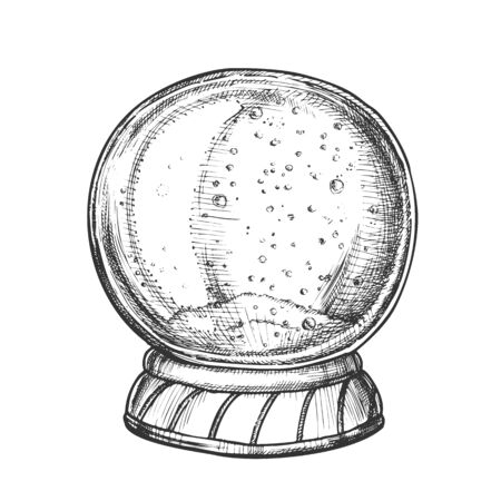 Christmas Snow Globe Souvenir Hand Drawn Vector. Snowflakes Winter In Glass Snow Ball. Xmas Celebration Decoration Sphere Template Designed In Vintage Style Black And White Illustration