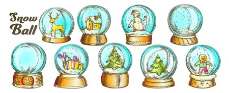 Christmas Snow Balls Souvenir Vintage Set Vector. Collection Different Toys In Glass Snow Balls. Xmas Present Decoration Sphere Template Designed In Retro Style Color Illustrations