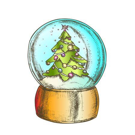 Snow Globe With Decorated Fir-tree Souvenir Vector. Snowy Winter And Pine Tree Adroned Xmas Toys In Glass Snow Ball On Stand. Sphere Mockup Hand Drawn In Retro Style Color Illustration