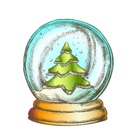 Snow Globe With Fir-tree Souvenir Vintage Vector. Snowy Winter And Pine Tree In Glass Snow Ball On Stand. Christmas Present Sphere Template Hand Drawn In Retro Style Color Illustration