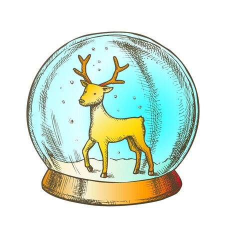 Snow Globe With Deer Souvenir Hand Drawn Vector. Snowy Winter And Wild Forest Animal In Glass Snow Ball On Pedestal. Xmas Present Sphere Template Designed In Vintage Style Color Illustration