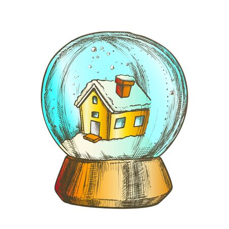 Snow Globe With House Souvenir Vintage Vector. Snowy Winter And Ancient Building In Glass Snow Ball On Pedestal. Seasonal Holiday Gift Sphere Template Designed In Retro Style Color Illustration Stock Illustratie