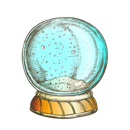Christmas Snow Globe Souvenir Hand Drawn Vector. Snowflakes Winter In Glass Snow Ball. Xmas Celebration Decoration Sphere Template Designed In Vintage Style Color Illustration