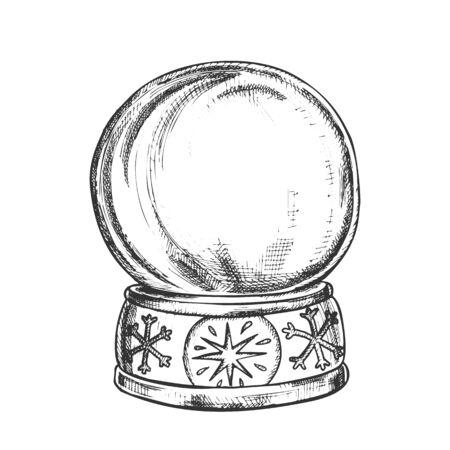 Empty Snowglobe Christmas Souvenir Vintage Vector. Glass Ball Snowglobe On Decorated Snowflake Pedestal. Celebratory Present Sphere Template Hand Drawn In Retro Style Black And White Illustration