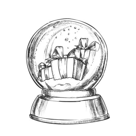 Snow Globe With Christmas Gifts Souvenir Vector. Snowy Winter And Xmas Holiday Presents In Glass Snow Ball On Blank Pedestal. Present Sphere Layout Hand Drawn In Vintage Style Monochrome Illustration