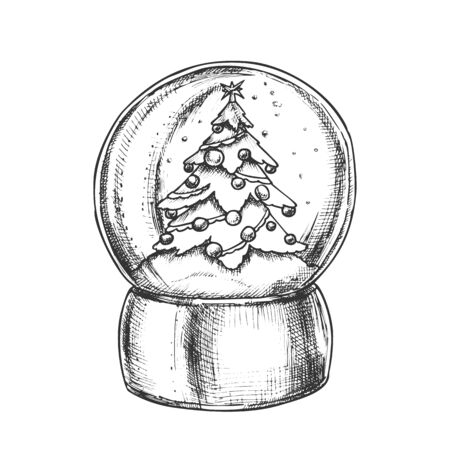 Snow Globe With Decorated Fir-tree Souvenir Vector. Snowy Winter And Pine Tree Adroned Xmas Toys In Glass Snow Ball On Stand. Sphere Mockup Hand Drawn In Retro Style Black And White Illustration