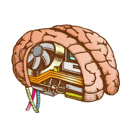 Innovation Computer Chip Brain Color Vector. Artificial Intelligence Concept In Human Brain. Motherboard, Processor And Cooler Hand Drawn In Vintage Style Illustration