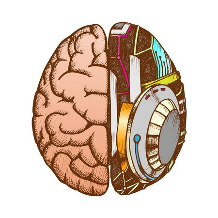 Innovation Machine Robotic Brain Color Vector. Artificial Intelligence Concept And Human Brain. Ai And Anatomy Neurology Element Hand Drawn In Vintage Style Illustration