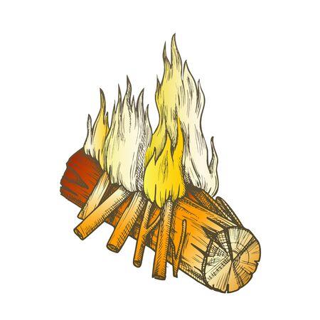 伝統的な燃焼木製スティックカラーベクトル。燃える木材と小さな枝焚き火炎。ヴィンテージスタイルのイラストでデザインされたキャンプツーリスト要素