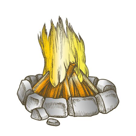 Traditional Burning Campfire Color Vector. Burning Firewood With Bricks Stones Around Of Flame. Bonfire Camping Tourist Element Hand Drawn In Vintage Style Illustration