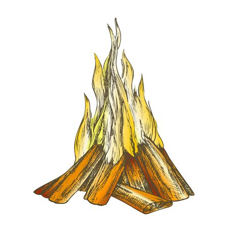 Traditional Burning Bonfire Color Vector. Hiking Fiery Wooden Sticks Bonfire Fireplace. Hot Forks Of Flame And Wood Timber Hand Drawn In Retro Style Illustration