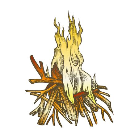 Traditional Burning Timbered Stick Vintage Vector. Burning Tree Wood Branches For Inflaming Flame. Hot Temperature Controlled Fire Of Twigs Designed In Retro Style Color Illustration