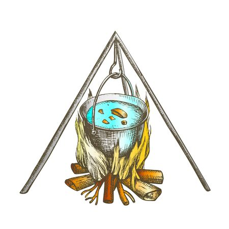 Cooking In Cauldron On Campfire Vintage Vector. Burning Tree Timbers Flame For Cook Soup Touristic Dinner. Hot Temperature Controlled Fire Of Twigs Designed In Retro Style Color Illustration 일러스트