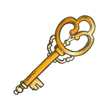 Vintage Key Filigree Medieval Color Vector. Entrance Door Lock And Unlock Element Decorative Iron Skeleton Key. Template Hand Drawn In Retro Style Illustration Illustration