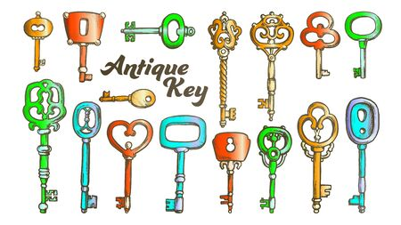 Key In Different Form And Material Ink Set Vector. Collection Bunch Decorative Antique Key. Equipment For Lock And Unlock Padlock Template Designed In Vintage Style Color Illustrations
