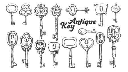 Key In Different Form And Material Ink Set Vector. Collection Bunch Decorative Antique Key. Equipment For Lock And Unlock Padlock Template Designed In Vintage Style Monochrome Illustrations Illustration