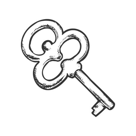 Key Filigree Old Design Antique Monochrome Vector. Opener Lock Element Classic Solid Steel Skeleton Key. Home Access Template Hand Drawn In Vintage Style Black And White Illustration
