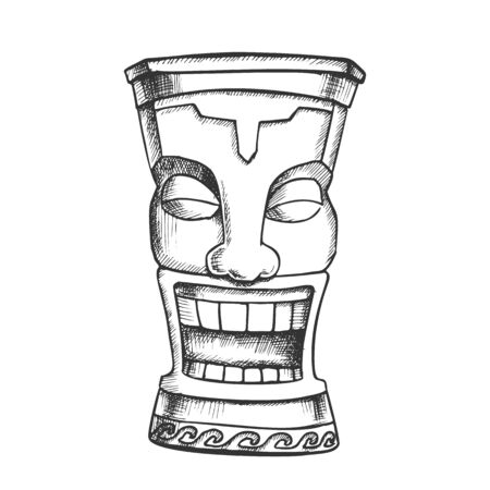 Tiki Idol Carved Wood Funny Totem Vintage Vector. Polynesian Decorative Cheerful Tearful Idol. Comical Ritual Object Template Designed In Retro Style Monochrome Illustration  イラスト・ベクター素材