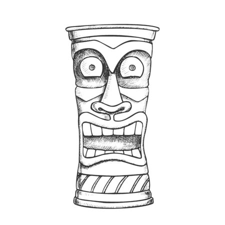 Tiki Idol Carved Wood Crazy Laugh Totem Ink Vector. African Ethnicity Mystery Medieval Tearful Idol. Scary Ritual Object Template Designed In Retro Style Monochrome Illustration