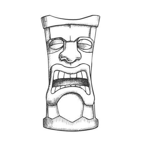 Tiki Idol Carved Wooden Crying Totem Ink Vector. Aztec Ethnicity Mystery Tribal Tearful Idol. Sad Ritual Object Template Hand Drawn In Vintage Style Black And White Illustration