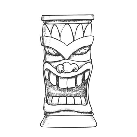 Tiki Idol Carved Wooden Totem Monochrome Vector. Mythological Mystical Indigenous Laughing Sculpture Idol Mask. Old Object Template Hand Drawn In Vintage Style Black And White Illustration Stock Illustratie