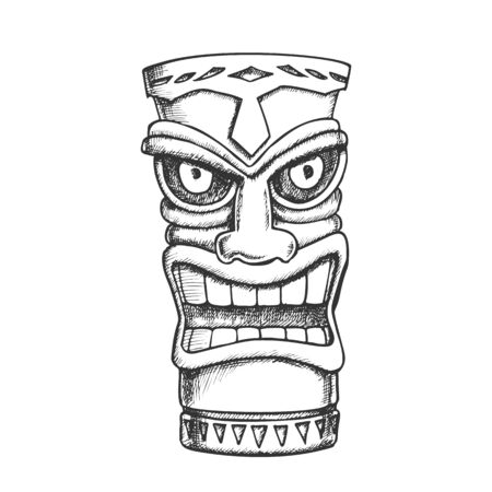 Tiki Idol Carved Wood Statue Monochrome Vector. Cultural Antique Scary Totem Sculpture Angry Face Idol. National Religious Object Template Designed In Vintage Style Black And White Illustration