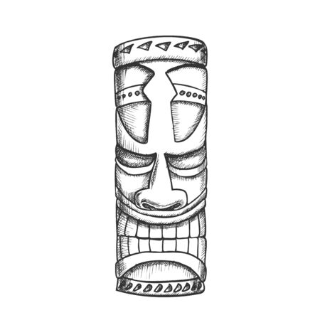 Tiki Idol Hawaiian Wooden Statue Monochrome Vector. Traditional Haaii God Idol. Antique Scary Totem Concept Template Designed In Vintage Style Black And White Illustration Illustration