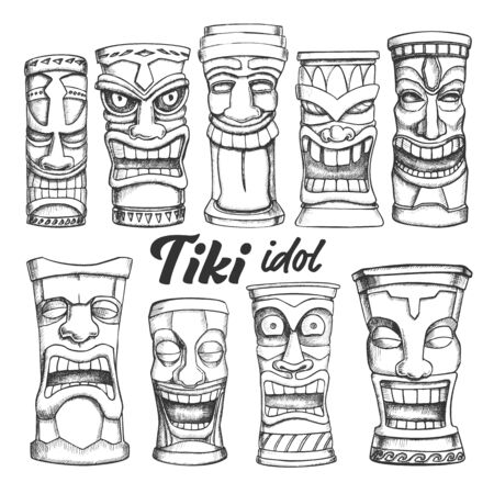 Tiki Idol Collection Totem Vintage Set Vector. Assortment In Different Mood Sculpture Idol. Comical And Scary Ritual Objects Template Hand Drawn In Retro Style Monochrome Illustrations