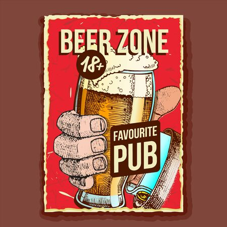 Hand Holding Beer Glass Advertising Banner Vector. Mug With Alcoholic Craft Brewery Drink Beer On Promo Poster Retro Style Grunge Textures. Tavern Creative Concept Layout Flat Cartoon Illustration Foto de archivo - 129914080