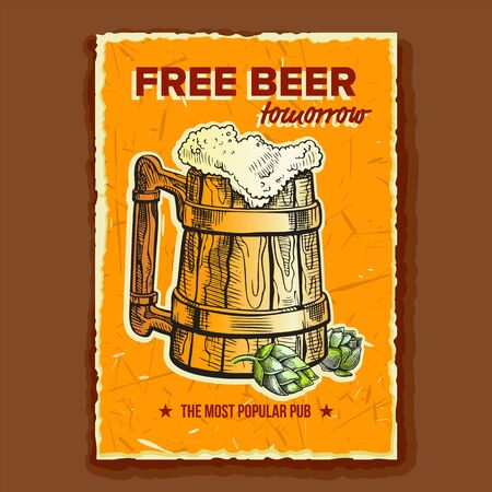 Beer Wooden Cup Brewery Advertising Banner Vector. Full Mug With Foamy Alcohol Drink And Green Bullion Hops On Promotional Free Beer Tomorrow Poster Of Popular Pub. Beverage Flat Cartoon Illustration Vecteurs