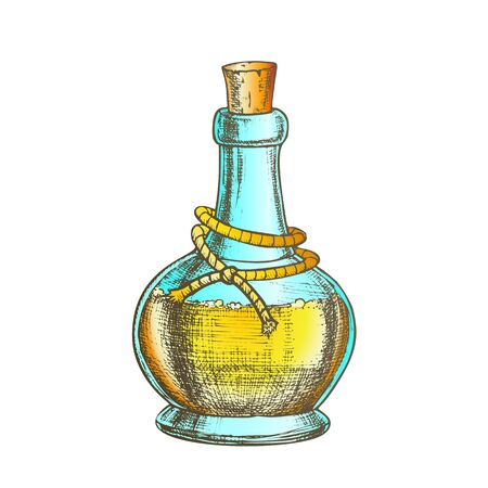 Poison Bottle With Cork Cap Vector. Glass Bottle With Planted Yarn And Toxic Mixture. Poisonous Liquid In Flask Template Hand Drawn In Vintage Style Color Illustration Çizim