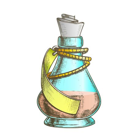 Creative Potion Glass Bottle Phial Ink Vector. Mixture Bottle Decorated Blank Ribbon On Planted Yarn. Liquid In Conic Vial Template Hand Drawn In Retro Style Color Illustration
