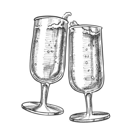 Two Elegance Champagne Glasses Monochrome Vector. Couple Champagne Glassware With Festive Fizz Alcoholic Beverage. Engraving Mockup Designed In Vintage Style Black And White Illustration