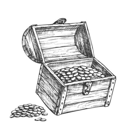 Treasure Chest Piles Of Coins Around Ink Vector. Medieval Open Wooden Chest Box With Jewelry Precious. Wealth Engraving Template Hand Drawn In Retro Style Black And White Illustration