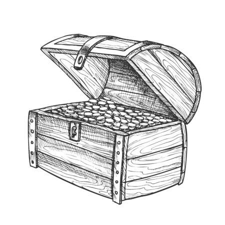 Cofre del tesoro montón monedas de oro Vintage Vector. Equipaje clásico de camión de pecho de madera abierta con preciosos. Maqueta de grabado de riqueza dibujada a mano en estilo retro Ilustración en blanco y negro