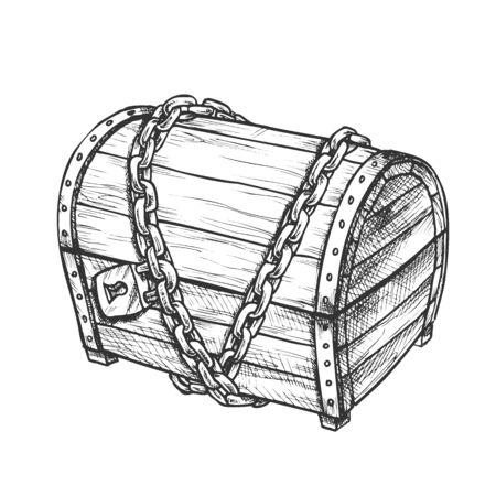 Coffre au trésor avec vecteur monochrome de cadenas. Coffre médiéval en bois fermé protégé par une chaîne en métal. Maquette de gravure de boîte à bijoux conçue dans une illustration noir et blanc de style vintage