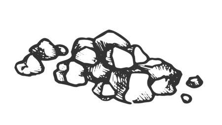 Tas de pierres, gravier, vecteur monochrome de pavés. Élément de rocher en pierre solide et solide pour la construction de routes. Modèle de gravure d'ardoise de bloc de nature dessinés à la main dans l'illustration noir et blanc de style rétro Vecteurs