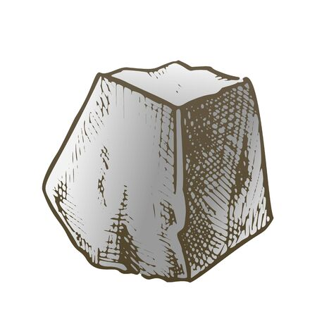 Stone Pile Gravel Cobblestone Color Vector. Solid Strong Stone Crag Element For Building Road. Nature Block Slate Engraving Template Hand Drawn In Retro Style Illustration Çizim