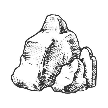 Rock Stone Rough Cobblestone Boulder Retro Vector. Élément de montagne en pierre de granit massif. Modèle de gravure d'ardoise de bloc de nature dessinés à la main dans l'illustration noir et blanc de style vintage