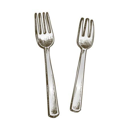 Forks Metallic Meal Kitchenware Color Vector. Stainless Dinner Forks Dishware. Metal Mealtime Restaurant Utensil Engraving Template Hand Drawn In Vintage Style Illustration Illustration