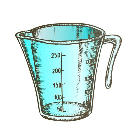 Measuring Cup For Baking And Cooking Color Vector. Domestic Cook Accessory Plastic Cup For Measure Ingredients. Jug Engraving Template Designed In Vintage Style Illustration Illustration