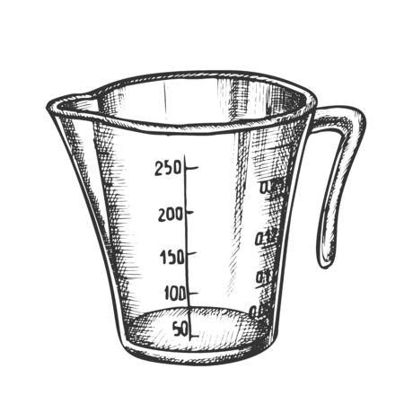 Measuring Cup For Baking And Cooking Ink Vector. Domestic Cook Accessory Plastic Cup For Measure Ingredients. Jug Engraving Template Designed In Vintage Style Black And White Illustration