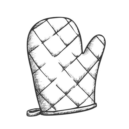 Glove Kitchenware Accessory Monochrome Vector. Domestic Cooking Wear Glove For Holding Hot Dishware. Holder Engraving Template Designed In Vintage Style Black And White Illustration