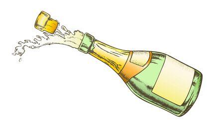 Champagne festa bevanda bottiglia di vetro vettore di colore. Celebra l'apertura dello champagne per bevande alcoliche con tappo di sughero scoppiettante e spruzzi di gocce. Layout di incisione progettato in stile retrò illustrazione Vettoriali