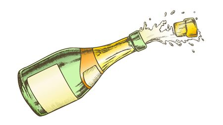 Champagne Blank Label Glass Bottle Color Vector. Flies Cork, Splash And Fizz Champagne. Bang Open Packaging Bubble Wine Engraving Layout Hand Drawn In Retro Style Illustration