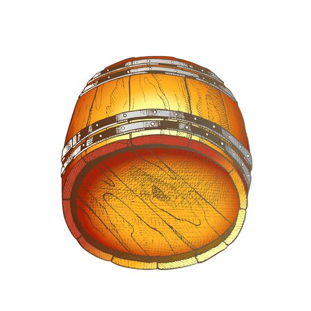 Lying Retro Drawn Wooden Beer Keg Barrel Vector. Rustic Vintage Barrel For Manufacture, Storaging And Delivery To Pub Alcoholic Drink Ale. Container For Lager Beverage Color Illustration