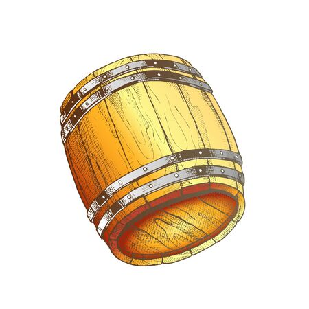 Drawn Old Oak Wooden Barrel For Beverage Vector. Traditional Barrel For Production, Storage And Delivery Whiskey. Closeup Equipment Of Distillery Plant Container Color Illustration